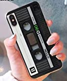 Art-design Custodia per iPhone XS Max Cassetta Cassette K7 Audio Vintage Retro DJ Mix Tape CD Cover Caso Silicone