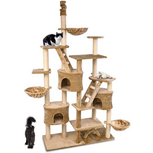 Happypet® CAT013 Kratzbaum Katzenbaum deckenhoch 2,30 bis 2,60 hoch Beige