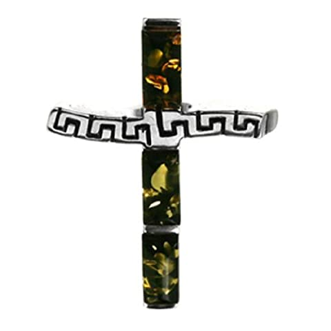 Grüner Bernstein Sterling Silber Kreuz Anhänger (Grün Harz Kreuz)