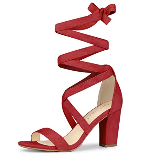 Allegra K Damen Peep Toe Blockabsatz Kreuz Lace Up High Heels Sandalen Rot 38 EU