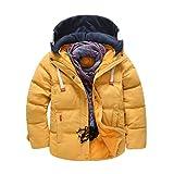 JEELINBORE Kinder Winterjacke Mantel mit Abnehmbarer Kapuze Daunenjacken Verdickte Herbstjacken Trenchcoat für Jungen Mädchen (Gelb, 160)