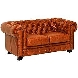 Woodkings® Chesterfield Sofa 2-Sitzer braun Cracker Echtleder Couch Bürosofa Polstermöbel 2er antik Unikat Herrenzimmer englisches Ledersofa Stilsofa