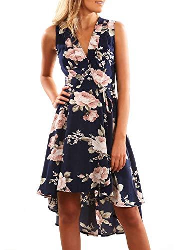 Dokotoo Sommerkleider Damen Kurzarm V-Ausschnitt Strand Blumen Kleider Abendkleid Knielang Blau M(EU40-42)