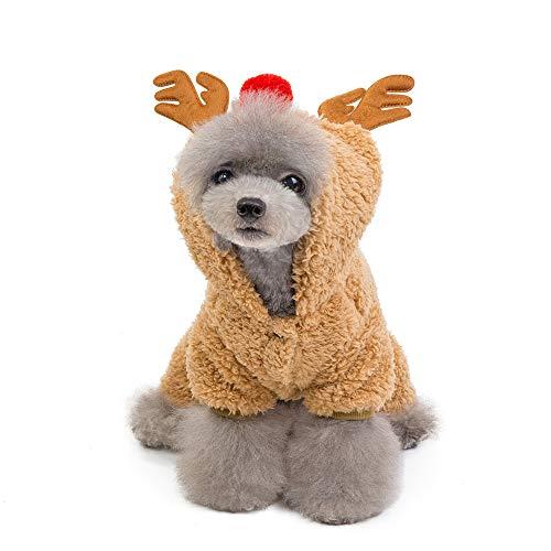 Fansu Christmas Kostüm Hund Haustier Hund Katze Christmas Kostüme, Einstellbare Warme Kleidung Netter mit Kapuze Pullover Hundepullover Party Cosplay Dekoration (M,Brown)