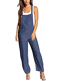 887915be11 ACHIOOWA Women s Dungarees Romper Jumpsuit Playsuit Sleeveless Baggy Loose  Trousers Pants Overalls