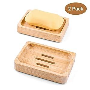 Mutsitaz 2 Pcs Jabonera Jabonera de Madera – Natural bambú Bandeja de jabón para La Cocina Ducha de baño Fregadero…