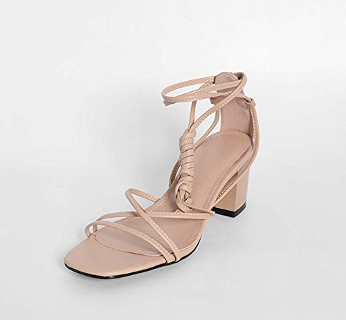 Cintura Chunks Leather Sandali Cintura Banda Catena Romana Casual Scarpe Per Le Donne apricot