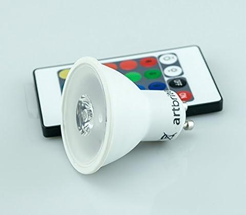 Spot LED 3W GU10 à variation de couleurs télécommandé - 16 options de couleurs RVB modulables grâce à la télécommande incluse - angle 38° - 60lm - Blanc