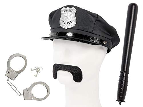 Set di Travestimento da Poliziotto | Nero | KV-120 | 4 Pezzi | Cappello, Baffi, Manette con Chiavi, Manganello | per Carnevale | Halloween | Festa a Tema | Adulti | Uomo | Donna
