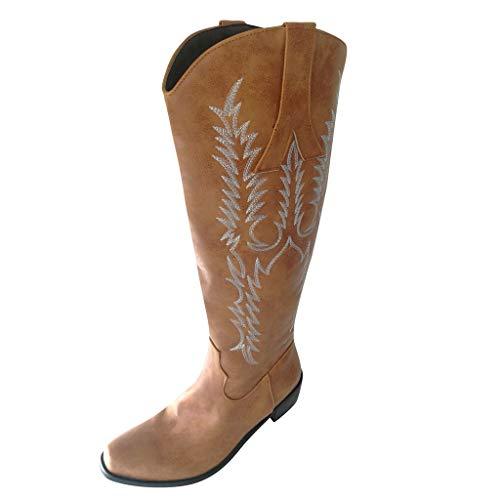 SEHRGUTGE Cowboy-Cowgirl-Stiefel für Damen, Kniehohe Westernstiefel, Slouch-Stiefel mit Fleecefutter, traditionelle Stickstiche