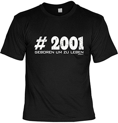 T-Shirt zum 16. Geburtstag #2001 Geboren um zu leben Geschenk zum 16 Geburtstag 16 Jahre Geburtstagsgeschenk 16-jähriger Schwarz