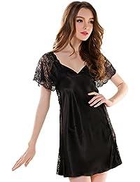 Aivtalk Mesdames Nuisette Satin Robe Chemise de nuit Col V à Manches Courtes Dentelle Lingerie Sexy pour Femme Luxe Satin Noir/Rose