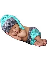 HAPPY ELEMENTS Recién nacidos los bebés del ganchillo que hacen punto del traje de camionero infantil Foto apoyo de la fotografía (0-12 meses) (Elfos juego de los cortocircuitos)