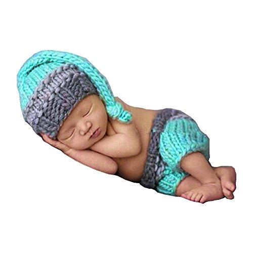HAPPY ELEMENTS Neonato Neonati maschi a mano a crochet costume cappelli infantili Foto Fotografia Prop (0-12 mesi) (Elfi pantaloncini tuta)