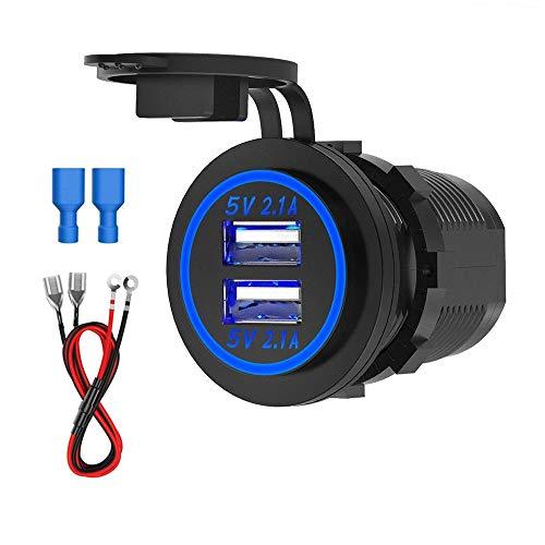 USB Auto Steckdose, CHGeek 12V/24V Auto Ladegerät 5V 4.2A Dual USB KFZ Ladegerät Wasserdichte Power Adapter mit LED Blaue Licht für Motorrad, Auto, Wohnwagen, LKW, Roller, Boot und Mehr - CH16