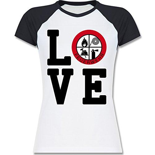 Feuerwehr - LOVE Feuerwehr - zweifarbiges Baseballshirt / Raglan T-Shirt für Damen Weiß/Navy Blau