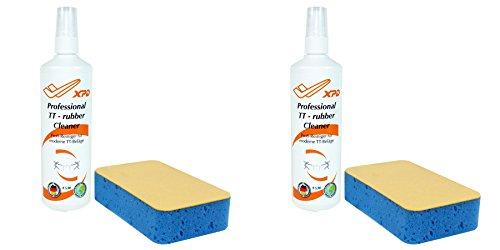 XPD 2er Set Tischtennisbeläge Reiniger (2x Reinigungsspray + 2x Reinigungsschwamm)