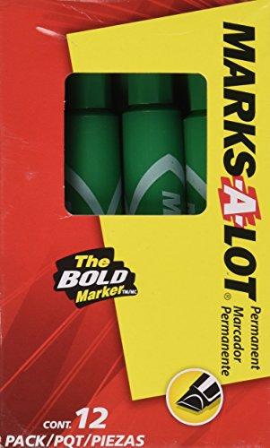Permanent Marker, Regular Chisel Tip, Green, Dozen, Sold as 1 Dozen