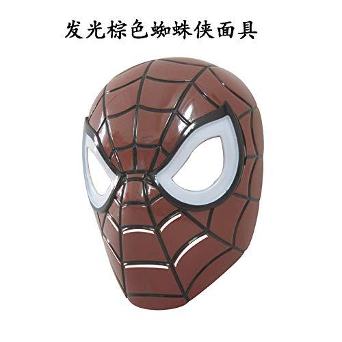 de Stimme Held Halloween Prom Party Plastikmaske Cloak Waffe Superhelden Maske Kinder Erwachsenen Kinder Party Supplies Eine Leuchtend braune Spider-Mann-Maske ()
