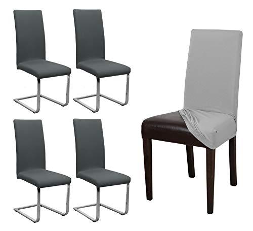 Beautex Lot de 4 Housses de Chaise en Jersey Stretch élastique en Coton Bi-Elastic,...