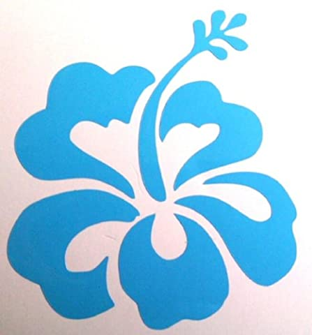 32 Hibiscus flower decals (Gloss), choose from 12 colours ideal for bedroom, nursery, laptops, cars and much much more (Pale Blue)
