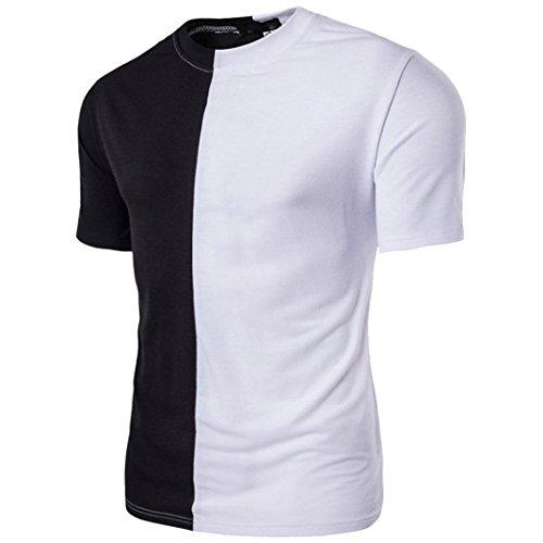 TUDUZ Oversize Herren Sommer Kurzarm Slim-Fit Rundhals Basic T-Shirt Hoodie Patchwork Muskel Pullover (Lustige Selbstgemachte Halloween Kostüme)