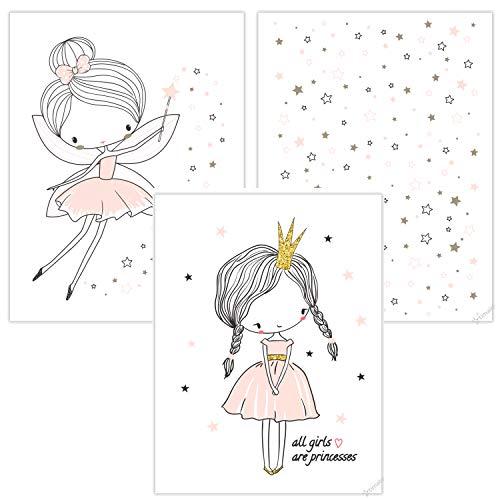 timalo® 3 Stück Kinderzimmer Bilder Set - Mädchen Poster süße Prinzessin, Sterne und Fee in pastellrosa p-3er-set-004-A4