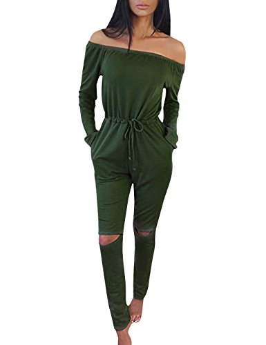 Yidarton Women Jumpsuit Sexy Off Shoulder Long Sleeve Romper Casual Playsuit Tracksuit(Army Green,S)