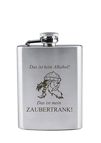 Edelstahl Flachmann mit Gravur - Das ist kein Alkohol ! Das ist Mein Zaubertrank ! - Lustig - Gallier - als Geschenk oder zu Weihnachten (190 ml)