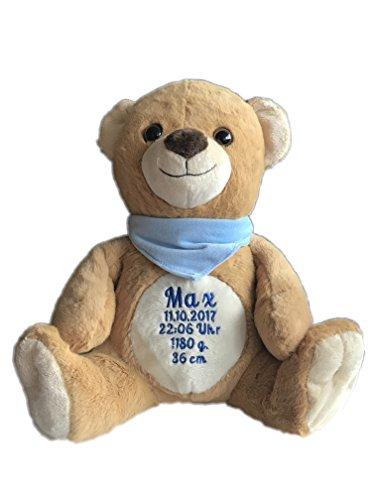 KIDDI-MEDIA Stofftier Plüsch Teddy mit Name & Geburtsdatum Bestickt (Halstuch: Hellblau (Junge))