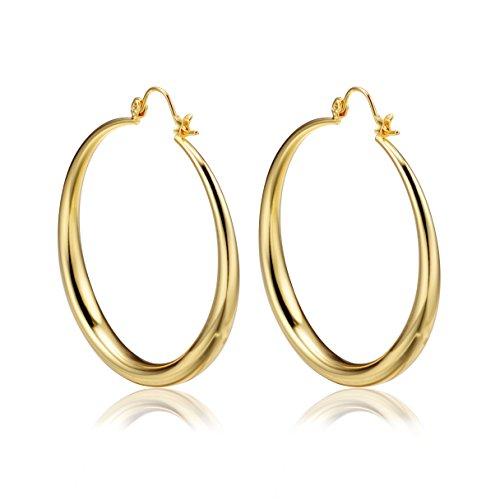 PAKSHO 9ct Gold with Inlaid Bronze Hoop Earrings 50mm Big ...