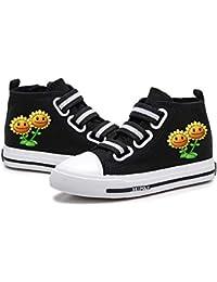 FONLONLON Plants vs. Zombies Congestión no en pies Calza los Zapatos Planos de los niños Zapatos de Lona Suela de Goma cómodo del Alto-Top Calzado (Color : Black08, Size : EU35 US5M)