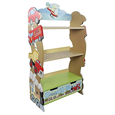 Fantasy Fields - Transportation themed Book Case Kids Wooden Bookcase with Storage Drawer| Hand Crafted & Hand Painted Bookshelf | Child Friendly Water-based