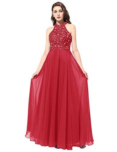 Dresstells Robe de cérémonie Robe de bal forme princesse dos nu longueur ras du sol Rouge Foncé