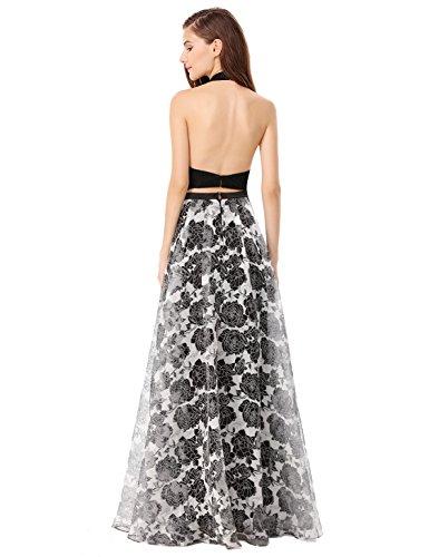 Ever Pretty Robe de Soirée Robe de Bal Deux Pièces Maxi Floral Style Vintage EP08963 Noir