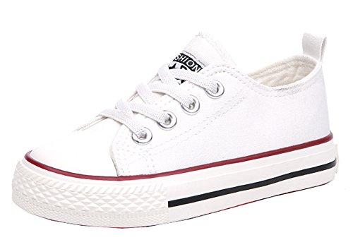 VECJUNIA Kinder Jungen und Mädchen Klassisch Lace Outdoor und Sport Schuhe Unisex Sneaker Weiß 30 EU (Jungen Sneakers Weiß Rot)