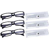 Sasairy 3 Piezas Gafas de Lectura de Marco Rectangular Durable + 3 Piezas Funda de Gafas Transparente Gafas para Leer Ideal para Padre Madre, Marrón