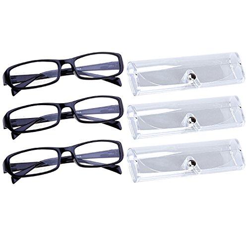 Sasairy 3 Piezas Gafas de Lectura de Marco Rectangular Durable + 3 Piezas Funda de Gafas Transparente Gafas para Leer Ideal para Padre Madre, Negro