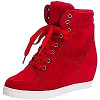 juqilu Damen Keilabsatz Stiefel Mit Schnürstiefeletten Klassische Schuhe Sneaker Mit Hohem Absatz