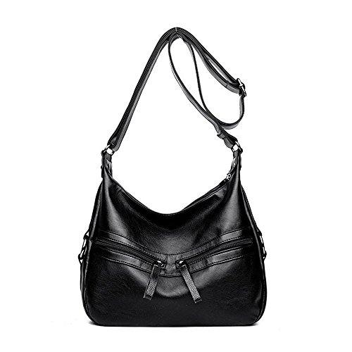 SJMMBB Lady's Weiche Leder Schultertasche Handtasche, Schwarz, 23 X 24 X 11 cm