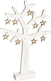 612b38d39b2 LuminalPark - Árbol luminoso Vintage de madera con Estrellas y Luces LED  blanco cálido a pilas