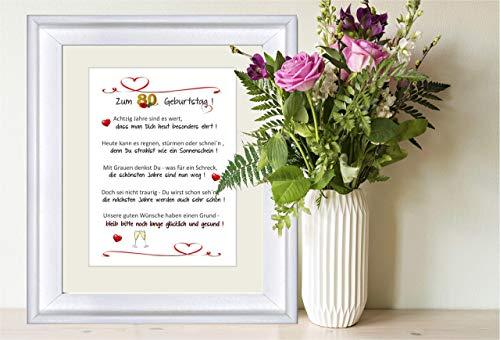 """""""Herzlichen Glückwunsch zum 80. Geburtstag"""" - personalisierbarer Kunstdruck als Geschenk zum 80. Geburtstag - 24 x 30 cm mit Passepartout - ohne Rahmen"""