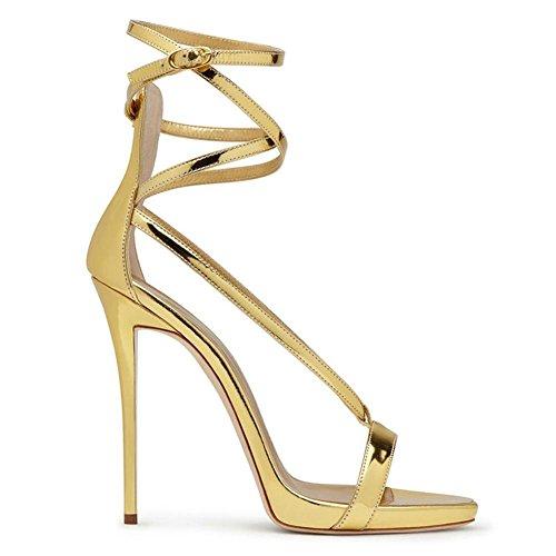Donna Sbirciare Dito del piede Caviglia Cinghia Attraversare cinghie Le signore Stiletto alto Tacco Oro sandali Festa Vestito Discoteca oro