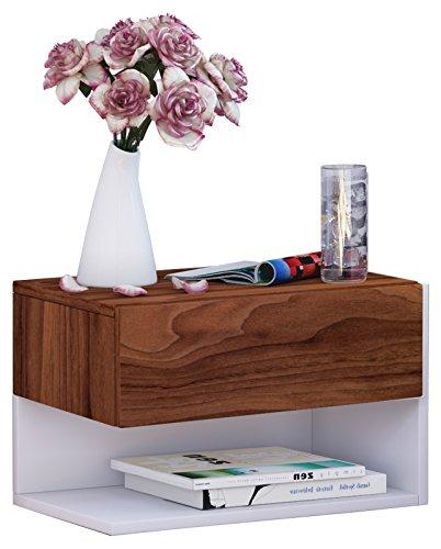 VCM Wand Nachttisch Nachtschrank Beistelltisch Tisch Nacht Kommode Konsole Holz weiß 30x46x30 cm 'Dormal'