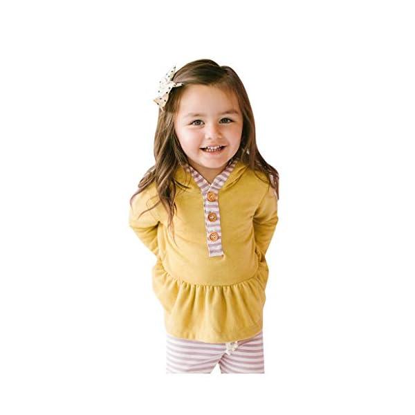 Body para bebés y niños pequeños Tops de Volantes sólidos con Capucha para bebés y niños pequeños + Pantalones de Rayas… 3