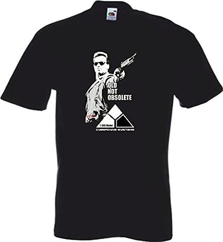 Terminator Movie T800 Arnold Schwarzenegger Tops Arnie Old Not Obsolete FOTL Boys & Girls Value Black T-Shirt - Size AGE 9-11