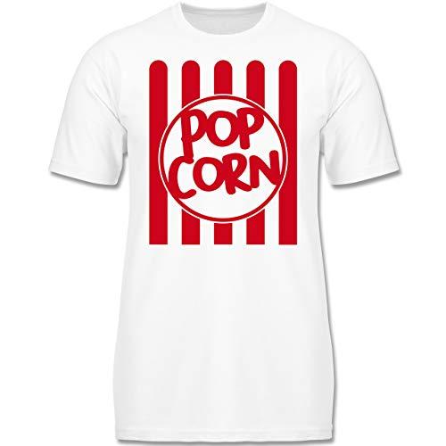 Karneval & Fasching Kinder - Popcorn Karneval Kostüm - 152 (12-13 Jahre) - Weiß - F130K - Jungen Kinder T-Shirt