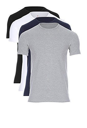 Solo Original, Feel Comfortable. 4er Pack Business Stretch T-Shirt-Rundhalsausschnitt. Slim-Fit Unterhemd. Ägyptischer Baumwolle (XXL) -