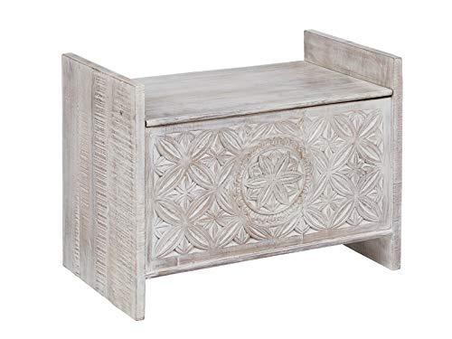 Woodkings® Sitzbank Mackay, Akazie massiv, Flurmöbel Vintage, Schuhschrank, Truhe, Holzbank mit Schnitzereien