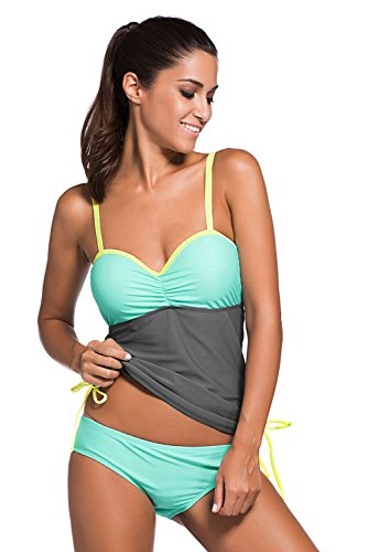 Miweel Damen Summer Tankinis Mehrfarben Skort Bottom Set Zweiteilig Bademode Swimsuit - Hohe Qualität Blau-2